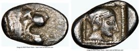 CARIA. Cnidus. Ca. 530/20-480 BC. AR trihemiobol (13mm, 7h). NGC Choice Fine. Head of roaring lion right / Head of Aphrodite right, wearing three stri...
