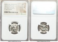 CARIAN ISLANDS. Rhodes. Ca. late 4th century BC. AR didrachm (19mm, 6.93 gm, 1h). NGC AU 5/5 - 4/5. Ca. 330s-305 BC. Head of Helios facing, turned sli...