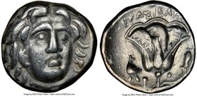 CARIAN ISLANDS. Rhodes. Ca. 275-250 BC. AR drachm (15mm, 12h). NGC XF. Erasicles, magistrate. Head of Helios facing, turned slightly right / EPAΣIKΛHΣ...