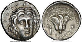CARIAN ISLANDS. Rhodes. Ca. 250-200 BC. AR didrachm (19mm, 11h). NGC XF. Ca. 250-230 BC, Mnasimaxus, magistrate. Radiate facing head of Helios, turned...