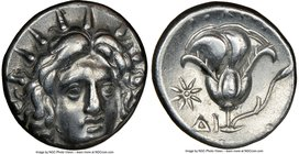 CARIAN ISLANDS. Rhodes. Ca. 250-205 BC. AR didrachm (18mm, 1h). NGC Choice VF. Ca. 250 BC. Radiate head of Helios facing, turned slightly right / ΡΟΔΙ...