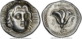 CARIAN ISLANDS. Rhodes. Ca. 250-205 BC. AR didrachm (20mm, 11h). NGC VF. Ca. 250 BC. Radiate head of Helios facing, turned slightly right, hair parted...