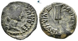 Hispania. Carteia. Tiberius AD 14-37.  Struck for Germanicus and Drusus, Caesars and honorary quattorviri. Bronze Æ
