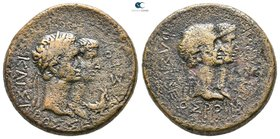 Kings of Thrace. Rhoemetalkes I and Pythodoris, with Augustus and Livia 11 BC-AD 12. Bronze Æ