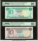 Bahamas Bahamas Government 1; 1/2 Dollar 1965; 1968 Pick 18b; 26a Two Examples PMG Gem Uncirculated 66 EPQ.   HID09801242017