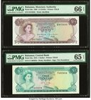 Bahamas Monetary Authority 1/2; 1 Dollar 1968; 1974 Pick 26a; 35a Two Examples PMG Gem Uncirculated 66 EPQ; Gem Uncirculated 65 EPQ.   HID09801242017