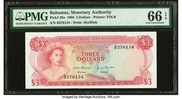 Bahamas Monetary Authority 3 Dollars 1968 Pick 28a PMG Gem Uncirculated 66 EPQ.   HID09801242017