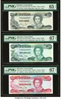 Bahamas Central Bank 1/2; 1; 3 Dollars 1974 (ND 1984) Pick 42a; 43a; 44a Three Examples PMG Gem Uncirculated 65 EPQ; Superb Gem Unc 67 EPQ (2).   HID0...