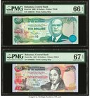 Bahamas Central Bank 10; 20 Dollars 2000; 1997 Pick 64; 65a PMG Gem Uncirculated 66 EPQ; Superb Gem Unc 67 EPQ. Low serial number examples.  HID098012...