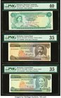Lot Of Ten PMG Graded Examples From Bahamas, Barbados And Jamaica. Bahamas Monetary Authority 1 Dollar 1968 Pick 27a PMG Extremely Fine 40; Barbados C...
