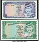 Brunei Government of Brunei 1 Ringgit 1972 Pick 6a; 5 Ringgit 1979 Pick 7a Choice About Uncirculated or Better.   HID09801242017