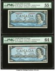 Canada Bank of Canada $5 1954 BC-39b; BC-39c Two Examples PMG About Uncirculated 55 EPQ; Choice Uncirculated 64 EPQ.   HID09801242017