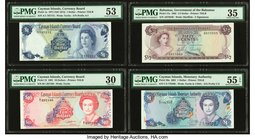 Lot Of Eight PMG Graded Examples From Cayman Islands, Bahamas And Bermuda. Cayman Islands Currency Board 1; 10 Dollars 1971 (ND 1972); 1991 Pick 1a; 1...