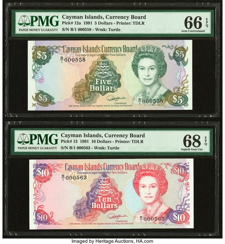 Cayman Islands Currency Board 5; 10 Dollars 1991 Pick 12a; 13 Two Examples PMG G...