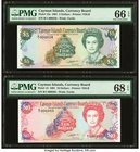 Cayman Islands Currency Board 5; 10 Dollars 1991 Pick 12a; 13 Two Examples PMG Gem Uncirculated 66 EPQ; Superb Gem Unc 68 EPQ.   HID09801242017