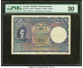 Ceylon Government of Ceylon 10 Rupees 1.2.1941 Pick 33 PMG Very Fine 30. Staple holes at issue; annotation; ink stamp.  HID09801242017