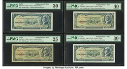 Cuba Banco Nacional de Cuba 5 Pesos 1958; 1960 (2) Pick 91a*; 91c* (2) Four Replacement Examples PMG Very Fine 30; Very Fine 25; Extremely Fine 40; Ve...