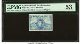 Cyprus Government of Cyprus 3 Piastres 18.6.1943 Pick 28a PMG About Uncirculated 53.   HID09801242017