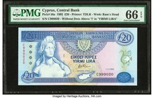 Cyprus Central Bank of Cyprus 20 Pounds 1.2.1992 Pick 56a PMG Gem Uncirculated 66 EPQ.   HID09801242017