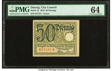 Danzig City Council 50 Pfennig 15.4.1919 Pick 12 PMG Choice Uncirculated 64.   HID09801242017