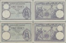 Algeria: Banque de l'Algérie, pair with 20 Francs 1925 and 1929, P.78b in F/VF condition. (2 pcs.)