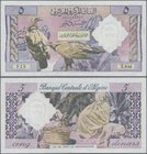 Algeria: Banque Centrale d'Algérie 5 Dinars 1964, P.122, without pinholes, just some folds and creases in the paper. Condítion: VF
