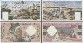 Algeria: set of 2 notes Banque Centrale d'Algerie containing 10 & 100 Dinars 1964 P. 123, 125, the 10 Dinars used with folds in paper, probably presse...