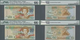 Antigua: Nice set with 4 banknotes 50 Dollars ND(2003), P.45a, all in UNC and three of them consecutive numbered, all PMG graded 66 Gem Uncirculated E...