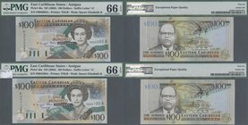 Antigua: Nice group of 4 banknotes 100 Dollars ND(2003), P.46a, all in UNC and all PMG graded 66 Gem Uncirculated EPQ. (4 pcs.)