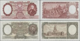 Argentina: Pair with 5000 and 10.000 Pesos ND(1961-69), P.280a, 281, both in XF+/aUNC condition. (2 pcs.)