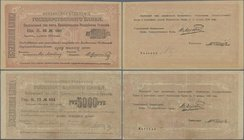Armenia: Pair with 1000 Rubles 1919 P.27 (UNC) and 5000 Rubles 1919 (1920) P.28 (VF+). (2 pcs.)