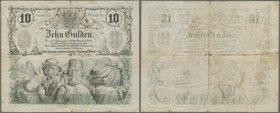Austria: Privilegirte Oesterreichische National-Bank 10 Gulden 1863, P.A89, tiny border tears and holes atcenter. Condition: F/F-. rare!