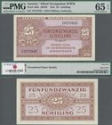 Austria: 25 Schilling 1944 Allied Occupation WW II, P.108a, uncirculated note with exceptional paper quality, PMG graded 65 Gem Uncirculated EPQ