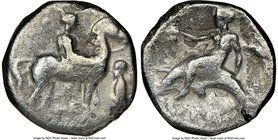 CALABRIA. Tarentum. Ca. 380-340 BC. AR stater or didrachm (20mm, 9h). NGC VG. He-, magistrates. Nude youth on horseback standing right; herm facing le...