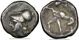 CALABRIA. Tarentum. Ca. 3rd century BC. AR diobol (11mm, 4h). NGC Choice Fine, scratch. Ca. 280-228 BC. Head of Athena left, wearing crested Corinthia...