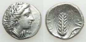LUCANIA. Metapontum. Ca. 330-280 BC. AR stater (20mm, 7.75 gm, 1h). VF, graffito. Head of Demeter right, crowned with grain; ΔAI before / META, grain ...