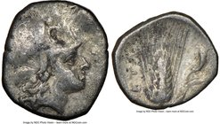 LUCANIA. Metapontum. Ca. 325-275 BC. AR diobol (11mm, 3h). NGC Choice Fine. Head of Athena right, wearing Corinthian helmet pushed back on head / META...