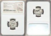 LUCANIA. Poseidonia. Ca. late 5th century BC. AR stater (20mm, 5h). NGC Choice Fine, graffito. Ca. 410-350 BC. ΠΟΣEIΔ, Poseidon striding right, nude b...