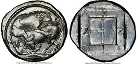 MACEDON. Acanthus. Ca. 470-430 BC. AR tetradrachm (27mm, 17.04 gm, 5h). NGC MS 4/5 - 3/5, brushed. Lion springing right, biting into hind quarters of ...