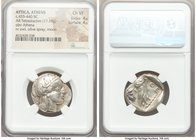 ATTICA. Athens. Ca. 455-440 BC. AR tetradrachm (24mm, 17.19 gm, 10h). NGC Choice VF 4/5 - 4/5. Early transitional issue. Head of Athena right, wearing...
