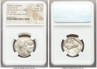 ATTICA. Athens. Ca. 440-404 BC. AR tetradrachm (24mm, 17.22 gm, 1h). NGC MS 3/5 - 4/5. Mid-mass coinage issue. Head of Athena right, wearing crested A...