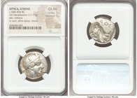 ATTICA. Athens. Ca. 440-404 BC. AR tetradrachm (24mm, 17.15 gm, 4h). NGC Choice AU 5/5 - 5/5. Mid-mass coinage issue. Head of Athena right, wearing cr...