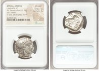 ATTICA. Athens. Ca. 440-404 BC. AR tetradrachm (25mm, 17.18 gm, 7h). NGC Choice AU 5/5 - 4/5. Mid-mass coinage issue. Head of Athena right, wearing cr...