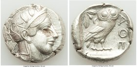 ATTICA. Athens. Ca. 440-404 BC. AR tetradrachm (25mm, 17.12 gm, 1h). Choice XF, flan flaw. Mid-mass coinage issue. Head of Athena right, wearing crest...