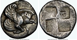 IONIA. Clazomenae. Ca. 5th century BC. AR diobol (10mm). NGC Choice VF. Forepart of winged boar right / Quadripartite incuse mill-sail pattern; K in o...