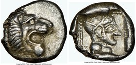 CARIA. Cnidus. Ca. 530/20-480 BC. AR trihemiobol (11mm, 1.68 gm, 6h). NGC AU 5/5 - 4/5. Head of roaring lion right / Head of Aphrodite right, wearing ...