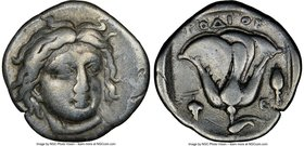 CARIAN ISLANDS. Rhodes. Ca. 340-316 BC. AR drachm (16mm, 12h). NGC Fine. Head of Helios facing, turned slightly right / POΔION, rose with single bud o...