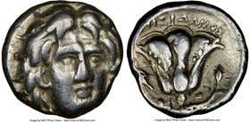 CARIAN ISLANDS. Rhodes. Ca. 275-250 BC. AR hemidrachm (14mm, 12h). NGC VF. Agesidamus, magistrate. Facing head of Helios, turned slightly right / AΓHΣ...