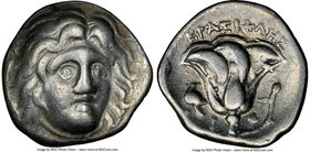 CARIAN ISLANDS. Rhodes. Ca. 275-250 BC. AR drachm (15mm, 12h). NGC VF. Erasicles, magistrate. Head of Helios facing, turned slightly right / EPAΣIKΛHΣ...