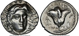 CARIAN ISLANDS. Rhodes. Ca. 250-205 BC. AR didrachm (20mm, 12h). NGC Choice XF. Ca. 225-205 BC, Eucrates, magistrate. Radiate head of Helios facing, t...